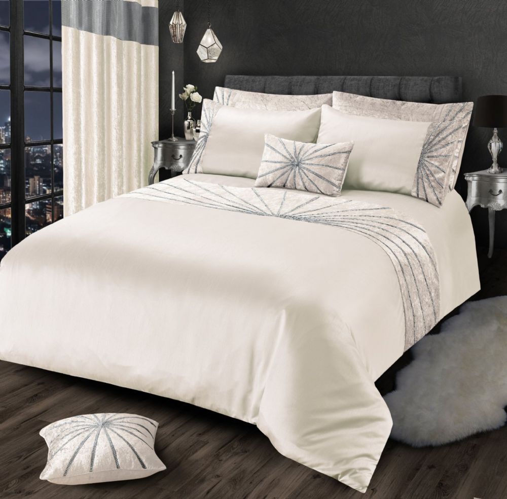 CREAM CHIC SHIMMER GLAM DIAMANTE STAR CRUSHED VELVET LUXURY BEDDING LUXURY RANGE